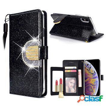 Custodia a portafoglio glitter per iphone xs max - nera