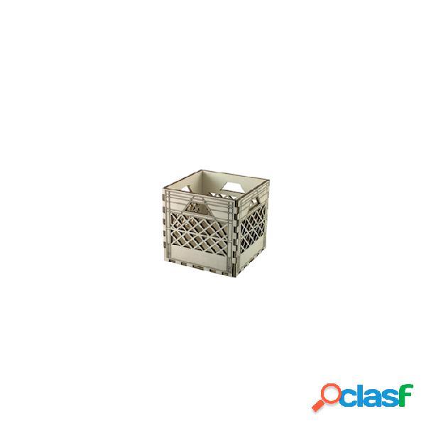 Mini cassetta con lavorazione a rete in legno naturale cm 10,5x10,5x10 - beige
