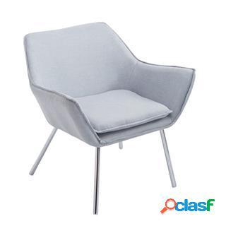 Poltroncina alice, design moderno, seduta imbottita in tessuto grigio