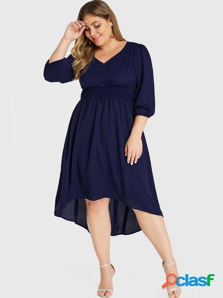 Yoins plus abito arricciato con vita elasticizzata con bottoni blu navy taglia