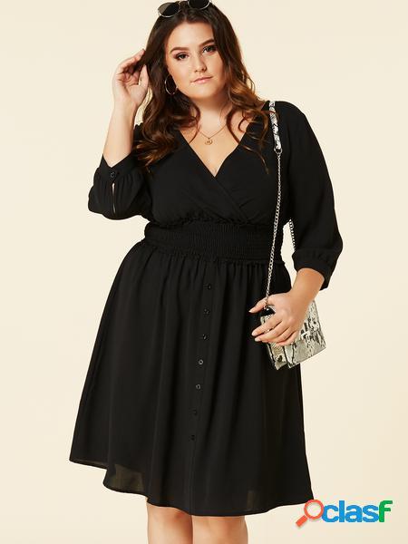 Yoins plus abito design con bottoni con scollo a v incrociato nero taglia