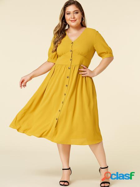 Yoins plus abito a mezza manica con bottoni sul davanti con scollo a v giallo taglia