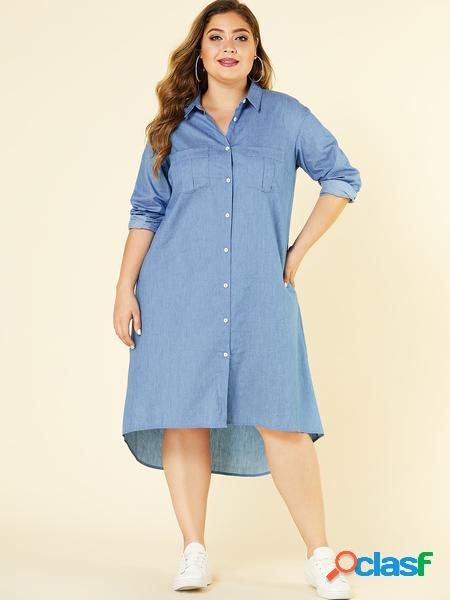 Yoins plus abito colletto con bottoni azzurri sul davanti classic