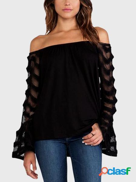 Yoins top nero con design patchwork a maniche lunghe con spalle scoperte