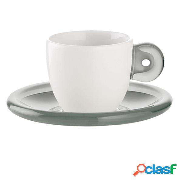Tazzine da caffe con piattini 25x17xh9 cm - 50 ccc gocce set due tazzine in porcellana bianca trasparente grigio cielo