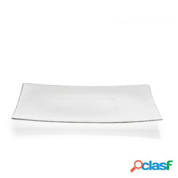 Piatto portata rettangolare in porcellana elisabeth filo platino 34x23 cm in bone china colore bianco