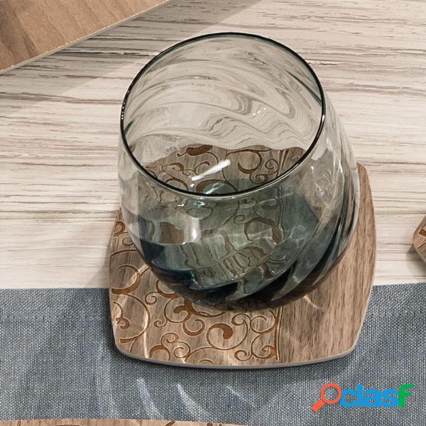 Sottobicchieri in legno set da sei pezzi 10x10 cm con lavorazione ad alta precisione linea acqua