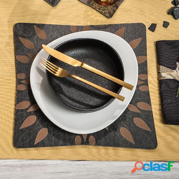 Sottopiatto in legno set 2 pezzi 33x33 cm con bordo con lavorazione ad alta precisione, confezione 2 pezzi linea fuoco