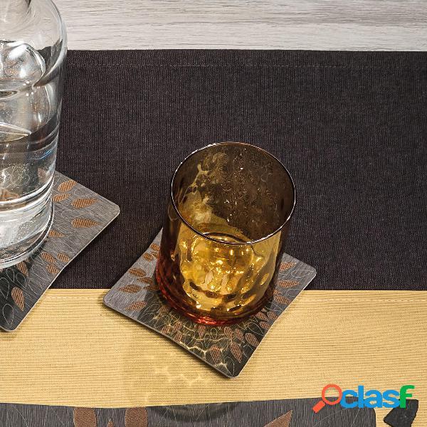 Sottobicchieri in legno set da sei pezzi 10x10 cm con lavorazione ad alta precisione linea fuoco