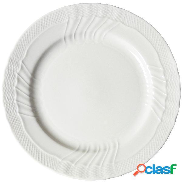 Piatto rotondo presentazione, portata conchiglia in porcellana bianca 31 cm lavabile in lavastoviglie