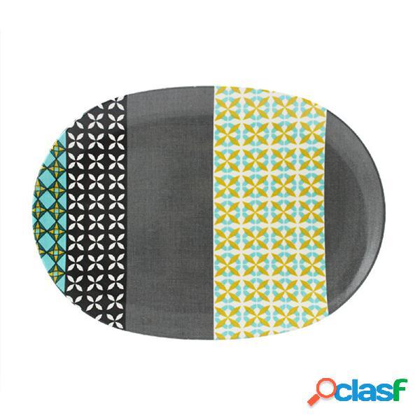 Piatto portata ovale in melamina provenza 34,8x24,7xh2,1 cm - bpa free decoro in tessuto (seelvy) verde