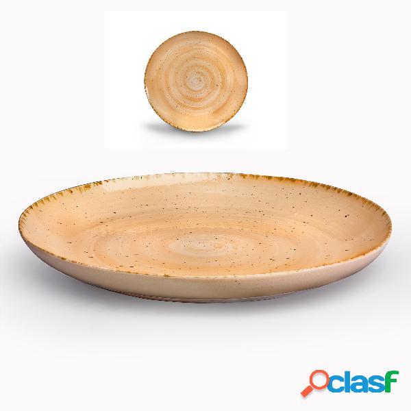 Piatto grande, pasta, portata in gres alta cucina diametro 32,5x3,5 cm lavabile in lavastoviglie, adatto al microonde decoro sotto smalto colore zenzero beige