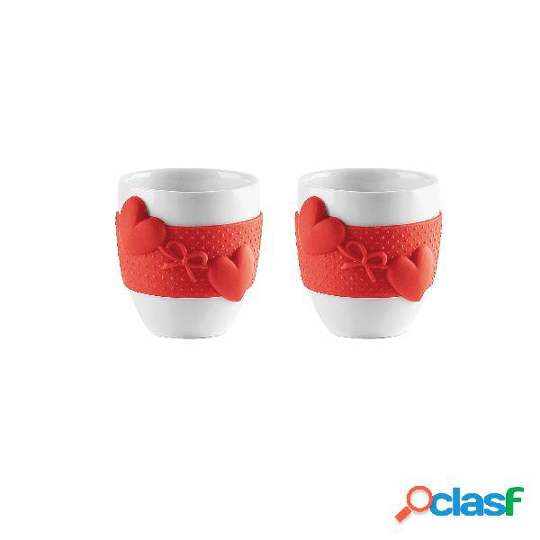 Tazzine caffè set due pezzi love ø5,5xh6 cm - 80 cc set 2 tazzine con inserti in silicone