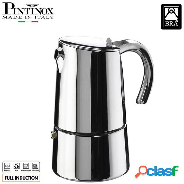 Pintinox bella caffettiera moka 4 tazze acciaio inox