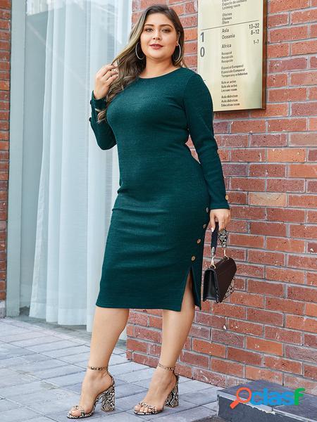 Yoins plus abito rotondo con bottoni verdi taglia collo