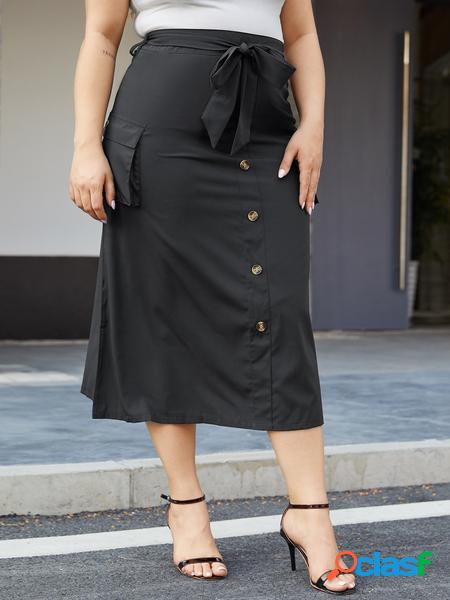 Yoins plus taglia nera cintura gonna a vita media con design