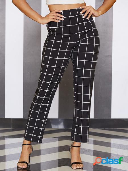 Yoins cinturino elastico nero griglia a vita alta pantaloni