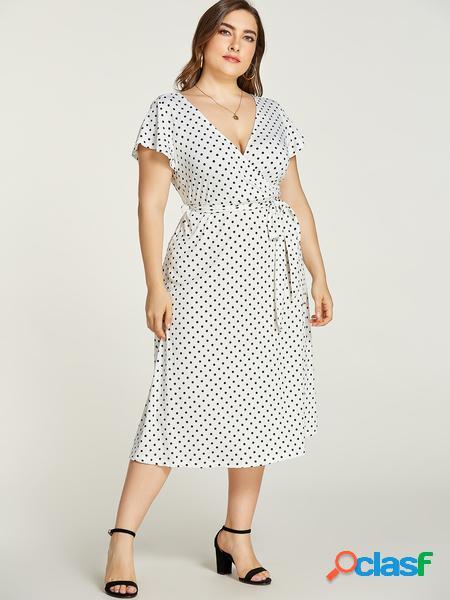 Yoins plus taglia white pois deep v collo cintura abito di design