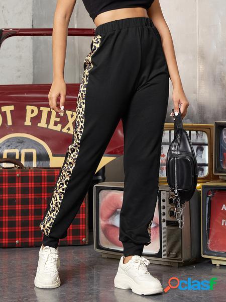 Yoins cinturino elastico nero patchwork leopardato pantaloni