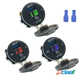 Dc12v quick charge 3.0 car charger single usb port with voltmeter digital display for car boat motorcycle truck and more