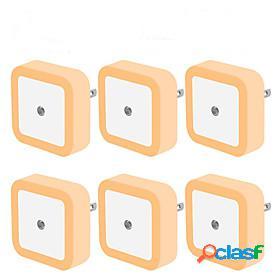 6pcs led night light mini light sensor control 110v 220v eu us plug nightlight lamp for children kids living room bedroom lighting