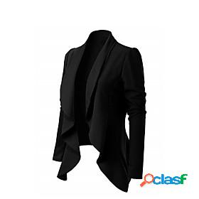 Women's blazer solid color classic style classic timeless polyester business eu / us size coat tops white / notch lapel collar