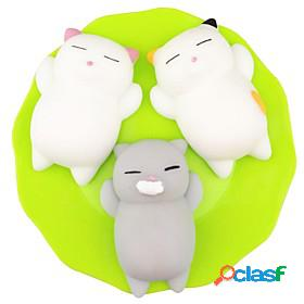 Squishy squishies squishy toy squeeze toy / sensory toy stress reliever 3 pcs cat mini kawaii mochi for kid's adults' children's boys' girls' gift party favor