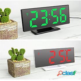 Digital alarm clock led mirror electronic clocks multifunction large lcd display digital table clock with temperature calendar