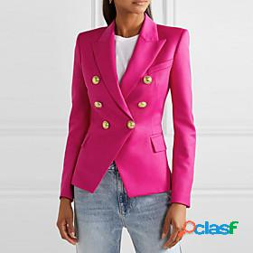 Women's blazer solid colored classic classic timeless polyester office / career eu / us size coat tops white / notch lapel collar