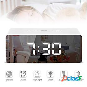 Digital led alarm clock mirror night light big lcd display electronic table clock with thermometer snooze function desktop