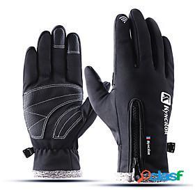 Winter bike gloves / cycling gloves touch gloves waterproof windproof warm waterproof zipper full finger gloves sports gloves fleece black pink grey for
