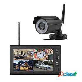 Wireless 4ch quad dvr 1 cameras pal 628x582 ntsc 510x492 with 7 800x480 tft-lcd monitor home security system pal ntsc built in mic