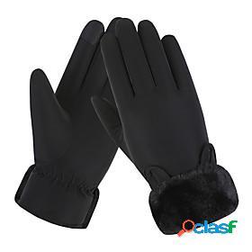 Women warm gloves waterproof windproof winter touch screen thick fleece lining skiing outdoor sports
