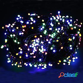String lights outdoor string lights set 100m 500 leds warm white rgb white christmas wedding party decorating holiday eu plug uk plug 220-240v black cable