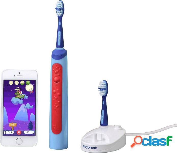 Playbrush smart sonic spazzolino da denti elettrico per bambini spazzolino sonico azzurro, rosso