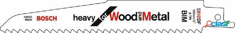 Bosch accessories 2608656256 lama per sega a sciabola s 610 df resistente per legno e metallo lunghezza lama della sega 150 mm 5 pz.