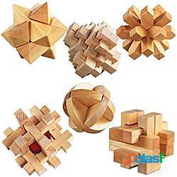 Cubo di legno 3d rompicapo rompicapo 6 pezzi, puzzle iq grande intelligenza educativa puzzle giocattoli per bambini adulti - sfida il pensiero logico lightinthebox