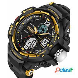 Sanda per uomo orologio sportivo intelligente guarda analogico-digitale digitale quarzo giapponese lusso resistente all'acqua sveglia cronografo / acciaio inossidabile / silicone / due anni l