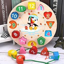 Giocattoli di puzzle di orologio digitale di geometria con perline di legno educativi animali del fumetto montessori che abbinano il giocattolo dell'orologio per i bambini lightinthebox