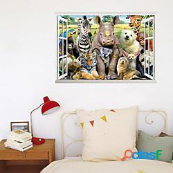 3d finta finestra nuova decorazione murale tigre mondo animale casa corridoio sfondo può essere rimosso adesivi lightinthebox