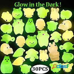 Morbidosi squishies giocattolo squishy giocattoli da spremere 30 pcs serie animali mini fosforescente sollievo dallo stress e dall'ansia mochi per per bambini per adulto ragazzi e ragazze reg