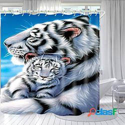 Tigre bianca stampa digitale tenda da doccia tende da doccia ganci moderno poliestere nuovo design lightinthebox