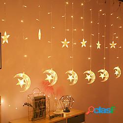 1pc moon star led luci per tende eu us plug natale fata ghirlande outdoor led scintillio luci stringa decorazione festa di festa lightinthebox