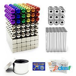 387 pcs magneti giocattolo magnete giocattolo palline magnetiche bastoncini magnetici costruzioni cubo di puzzle a calamita quadrato sollievo dallo stress e dall'ansia giocattoli per ufficio