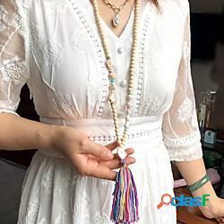 Per donna collana lunga nappa europeo stile folk boho legno tessuto pietra blu giallo avorio blu scuro arcobaleno 90 cm collana gioielli 1 pc per da sera strada graduazione compleanno festiva