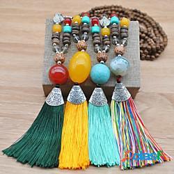 Per donna turchese collana lunga nappa artistico europeo stile folk boho legno tessuto pietra blu giallo verde arcobaleno 51-80 cm collana gioielli 1 pc per da sera strada regalo graduazione