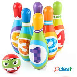 Set da bowling per bambini, giocattoli educativi per bambini perni interni colorati in morbida schiuma 6 palle da bowling stampate con giocattoli di riconoscimento numerico regalo sportivo pe