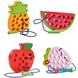 Giocattoli educativi per bambini montessori divertenti giocattoli in legno verme mangia frutta mela pera giocattoli divertenti puzzle in legno per regali per bambini miniinthebox
