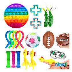 19 pezzi push pop giocattolo sensoriale bolla l'autismo ha bisogno di giocattolo antistress squishy adulto bambino divertente anti-stress pop it agitarsi giocattoli giocattolo per bambini min
