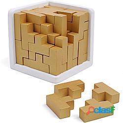 Puzzle rompicapo in legno originale 3d di pezzi a forma di t del costruttore di abilità geniali della zona del cervello affilato. giocattolo educativo per bambini e adulti. puzzle da scrivani